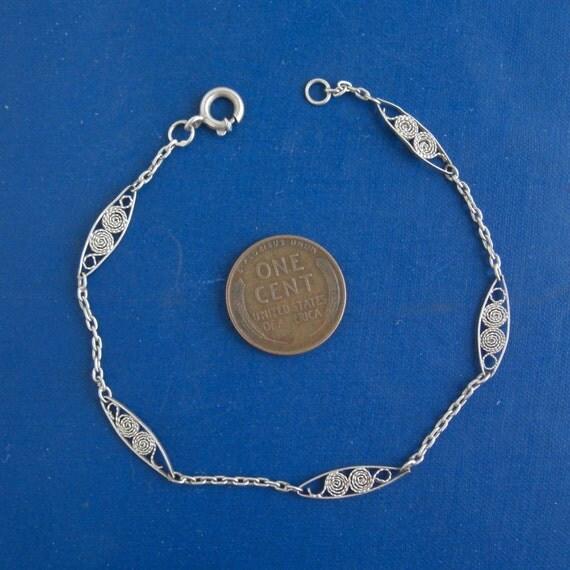 Vintage 835 Sterling Silver Link Bracelet - ornate design