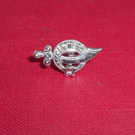 Vintage 14K Solid White Gold with Diamonds - Shriners Lapel Pin