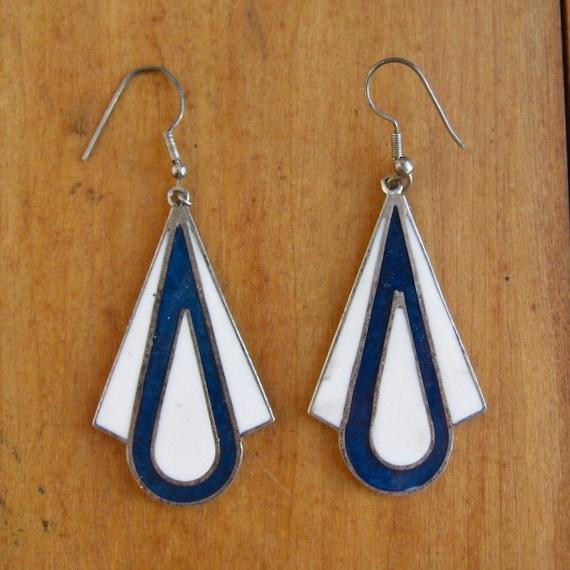 Vintage Blue & White Silver Pierced Earrings