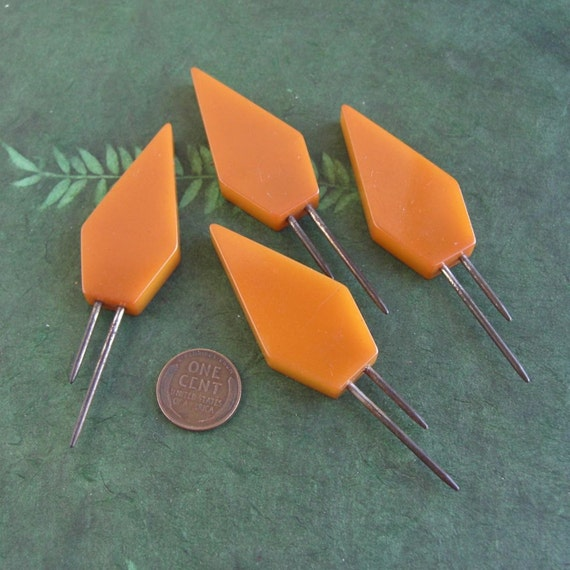 4 Vintage Butterscotch Bakelite Corn Skewers