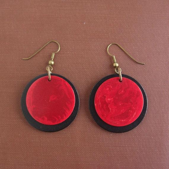 Pierced Earrings with Vintage Black & Red Bakelite