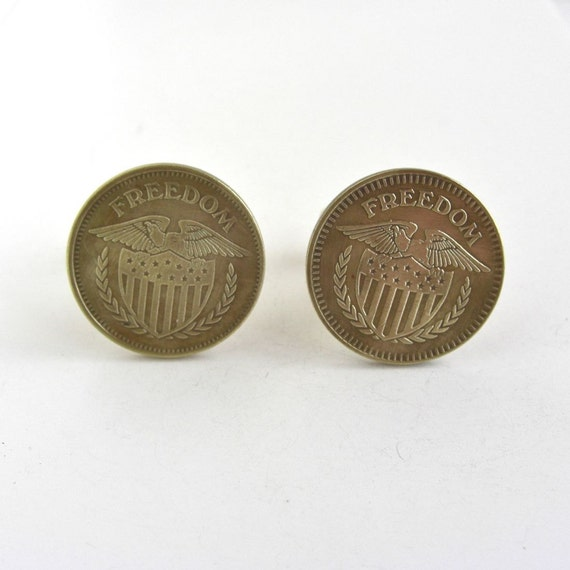 FREEDOM Gold Coin Cuff Links - Eagle & Shield