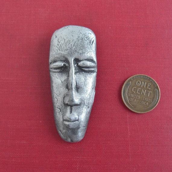 Vintage Handmade Resin Modernist Face Pin - Silver Tone