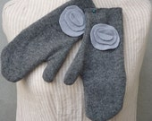 Upcycled Wool Arm Warmers Gloves Gray with flowers