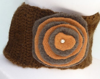Upcycled Recycled Brown Wool Neck Warmer for Women
