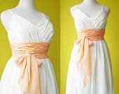 Greek Princess bridesmaid wedding dress gown romantic Ivory chiffon peach sash cocktail prom Custom Made to Your Size