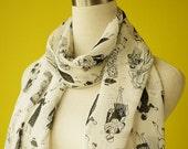 Long chiffon scarf white flapper 20s stylish print causal Long Scarf Shawl