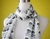 Skull head scarf halloween scull scarf black scull in white scarf