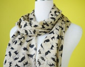 Cat print scarf black cat scarf chiffon scarf causal long scarf shawl belt black cat in beige