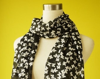 Ditsy Butterfly in Black Cute Fun Causal Long Scarf Shawl