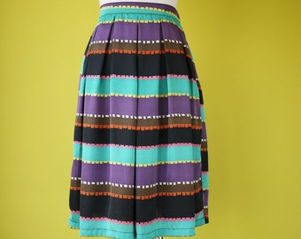 Stripes skirt retro bohemian 70s boho elasticated waist fully lined - SMALL