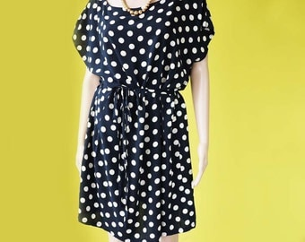 Polka dot dress tunic dress short sleeves cotton blue nautical dainty dress - FREE SIZE up to US 20