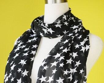Star print scarf chiffon scarf causal long scarf shawl belt white star in black