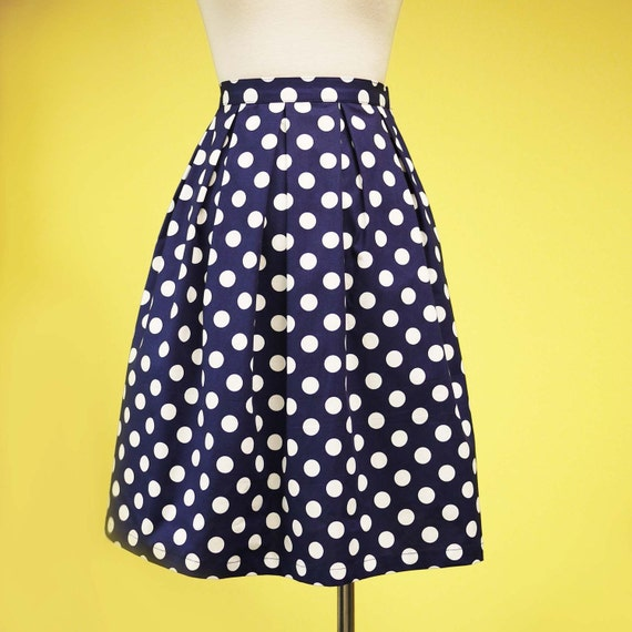 classic navy blue polka dots pleated skirt by prototypedesign