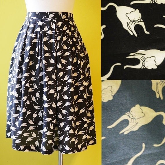 Cats in Black Print Pleated Cotton Skirt Elastic Waist Fully Lined - MEDIUM