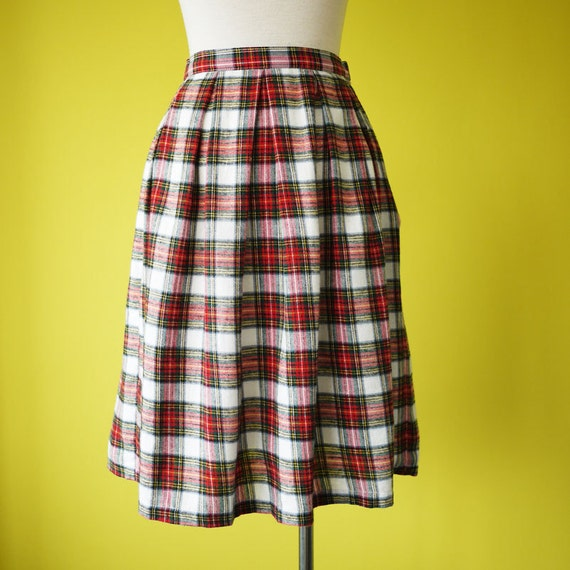 Tartan skirt school girl white and red plaid cotton knee length fully lined - SMALL