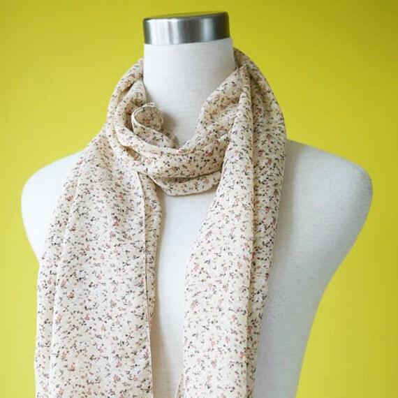 Causal wear scarf long chiffon scarf Ditsy Pale Peach Floral Print