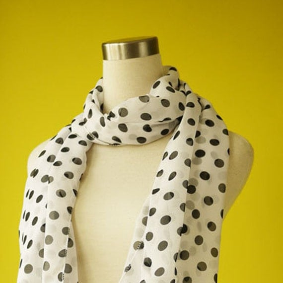 Polka dot scarf shawl in white french classic causal