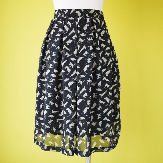 Cat print chiffon pleated skirt  black kitty pattern print elasticated waist tea length knee skirt - MEDIUM