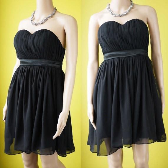 Strapless black dress bridesmaid dress black chiffon prom cocktail party dress - SAMPLE SALE