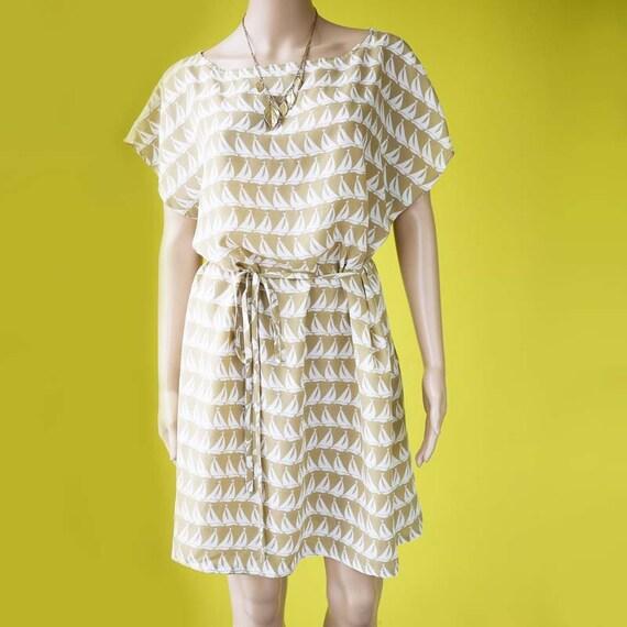 Boat neck dress plus size tunic retro beige sailing boat print kimono sleeves dress - FREE SIZE up to US 20