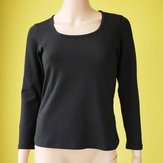 custom t shirt long sleeved t shirt womens fitted black fine jersey cotton CUSTOM MADE to your size