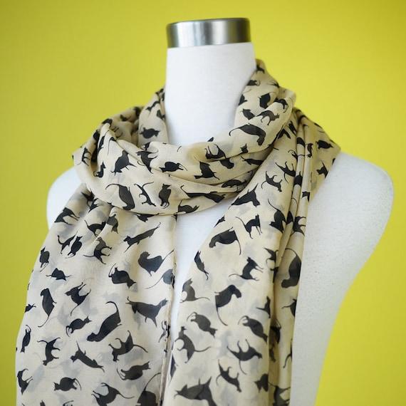 Cat print scarf black cat scarf chiffon scarf causal long scarf shawl belt black cat in beige