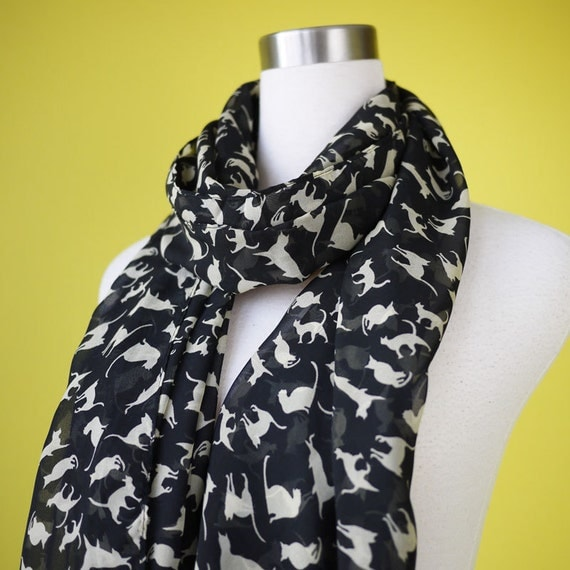 Cat print scarf black cat scarf chiffon scarf causal long scarf shawl belt white cat in black