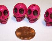 Dark Pink Skull Stone Beads