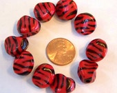 Small Red Zebra Lucite Beads