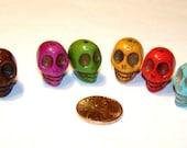 Multi Colored Stone Skull Beads