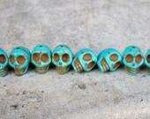 Tiny Turquoise Blue Stone Skull Beads