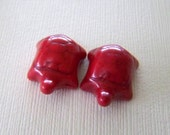 Tiny Bright Red Stone Turtle Beads