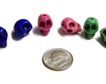 Tiny Multi Colored Stone Skull Beads