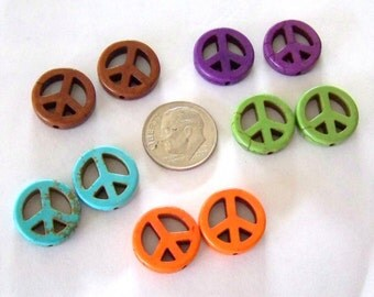 Peace Sign Beads Multi Colored Stone