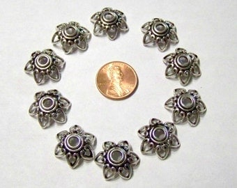 Silver Tone Pewter Looking Acrylic Heart Bead Caps