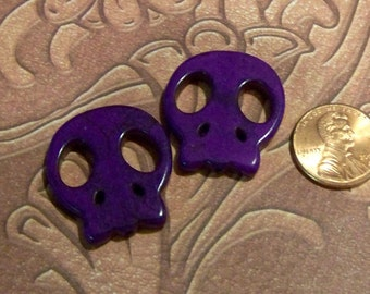 Large Purple Stone Flat Skull Beads
