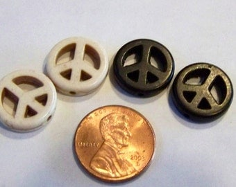 Small Black and Cream Colored Stone Peace Sign Beads