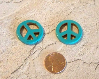 One Inch Stone Turquoise Peace Sign Beads