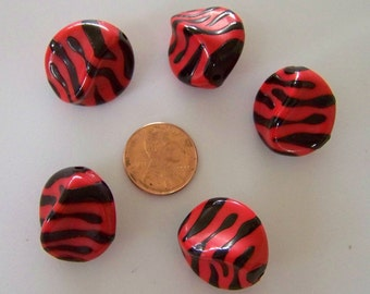 Large Red Zebra Lucite Beads