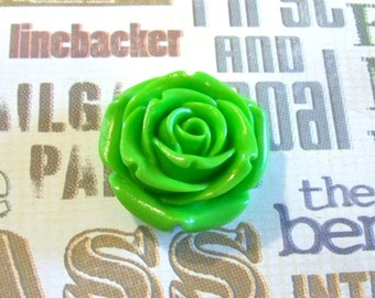 Rose Lime Green Extra Large Resin Bead