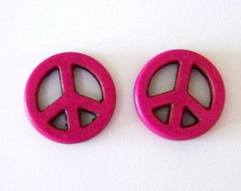 Peace Sign One Inch Magenta Stone Howlite Beads (2 Pieces)