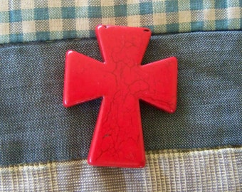 Cross Large Bright Red Howlite