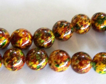 Large Yellow with Green and Red Paint Splattered Glitter Acrylic Beads Strand