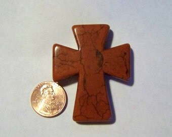 Cross Large Chocolate Brown Howlite