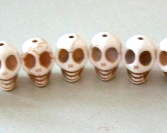 SKULL 12mm by 10mm Beads Howlite Cream Colored