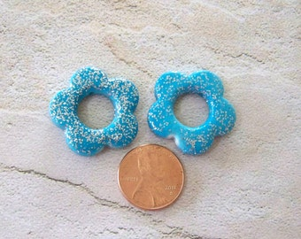 Small Turquoise Glitter Flower Bead Perfect for Earrings