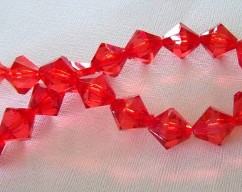 Bright Red Acrylic Bicone Strand