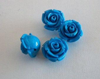 Rose Sky Blue Acrylic Beads