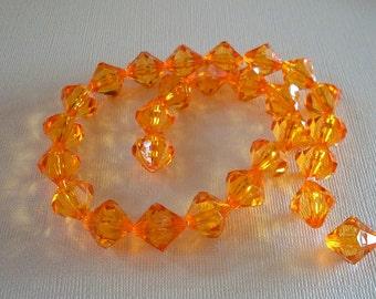Bright Orange Acrylic Bicone Strand